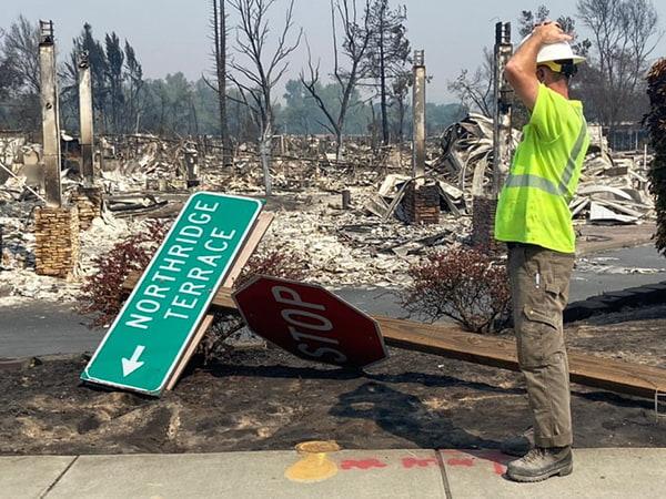 fire damage street signs