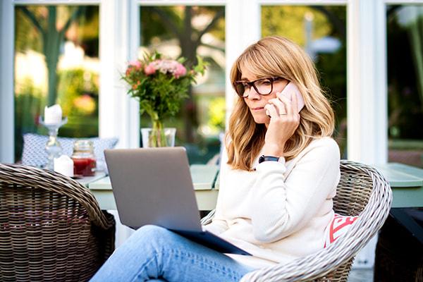 woman on phone patio
